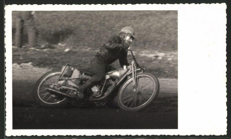 Fotografie Speedway Motorrad-Rennen, Rennfahrer Hofmeister auf Rennmotorrad mit 500ccm Jap-Motor