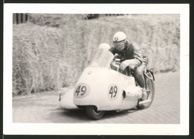 Fotografie Motorrad BMW mit Seitenwagen, Rennmotorrad Startnummer 49 beim Schleizer Rennen