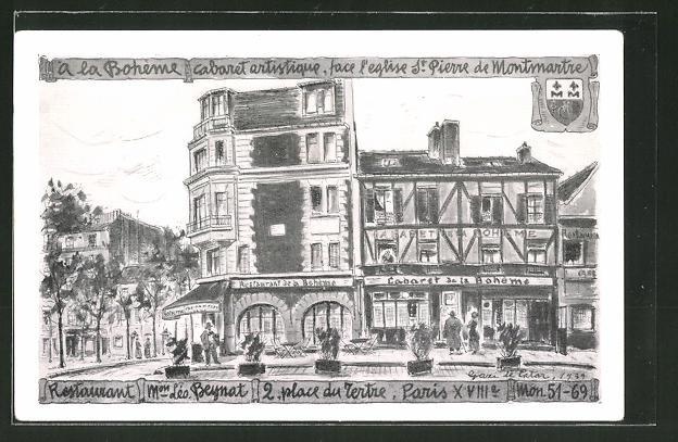 Künstler-AK Paris-Montmartre, a la Bohème, Cabaret artistique, face l'eglise St. Pierre de Montmartre