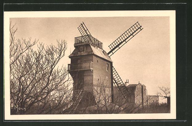 AK Paris-Montmartre, Les petits tableaux, Le moulin de la Galette, Le dernier des moulins de Montmartre