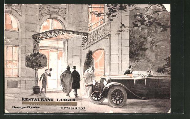 Künstler-AK Paris, Champs-Elysées, Elysées 28-47, Chauffeur mit Auto und Abendgesellschaft