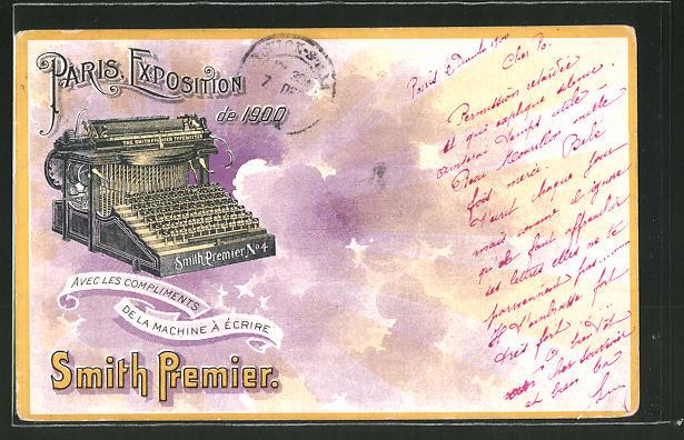 Lithographie Paris, Exposition universelle de 1900, Smith Premier, Schreibmaschine