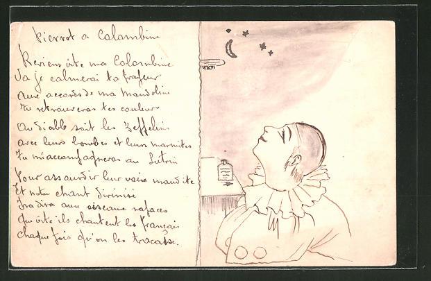 Künstler-AK Handgemalt: Pierrot entdeckt Zeppelin am Sternenhimmel
