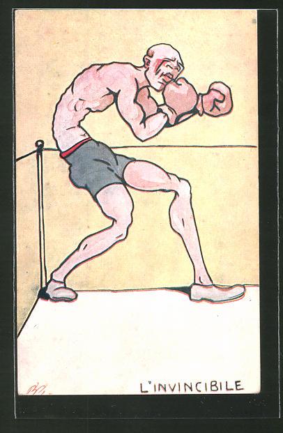 AK L'Invincibile, Karikatur eines Boxers