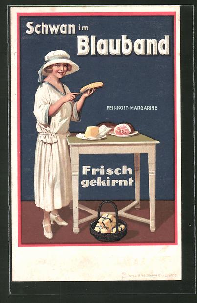 AK Schwan im Blauband, Feinkost Margarine, frisch gekirnt