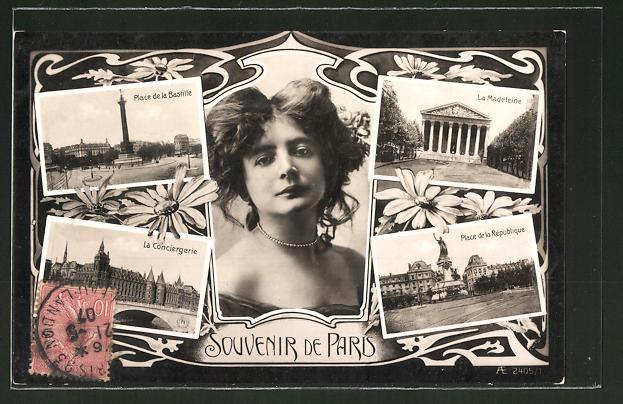 AK Paris, Place de la Bastille, La Conciergerie, La Madeleine, Place de la République, bezaubernde Dame