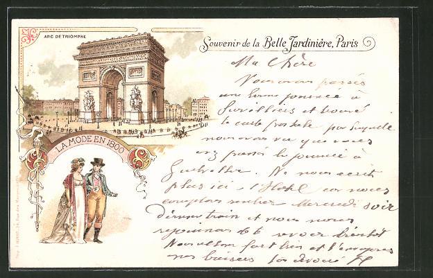 Lithographie Paris, Belle Jardinnière, La Mode en 1800, Arc de Triomphe