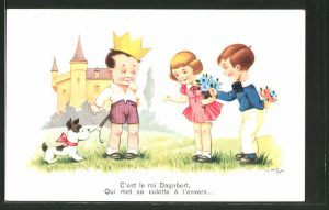 Künstler-AK sign. Jim Patt: C'est le roi Dagobert..., Kinder