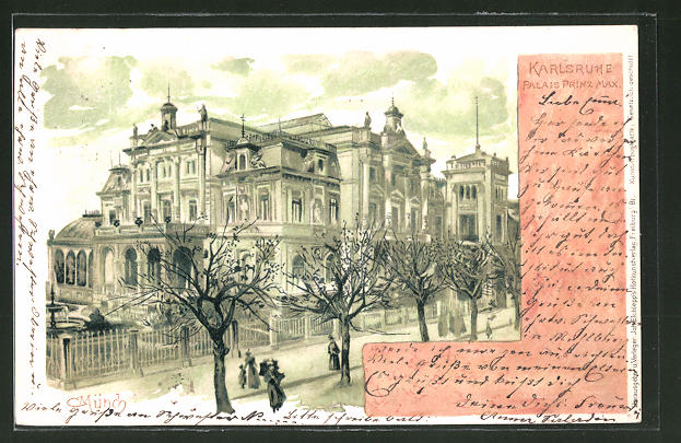 Künstler-Lithographie Carl Münch: Karlsruhe, Palais Prinz Max
