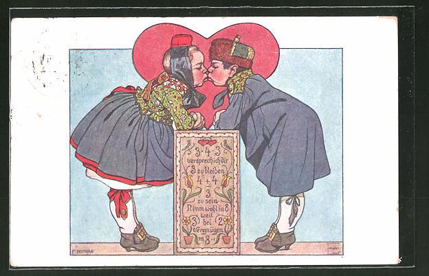 Künstler-AK Emil Beithan: Sich küssendes hessisches Paar