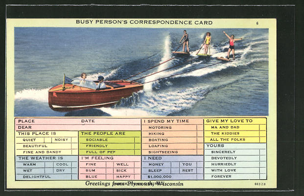 AK Busy Person's Correspondence Card, Wasserski in Wisconsin