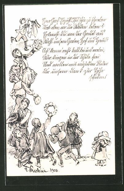 Künstler-AK Franz Skarbina: Herr Garf! Erzähl! it's schln zu schweben dort oben..., Zeppelin