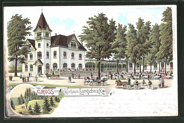 Lithographie Langebrück, Gasthaus-Kurhaus Langebrück