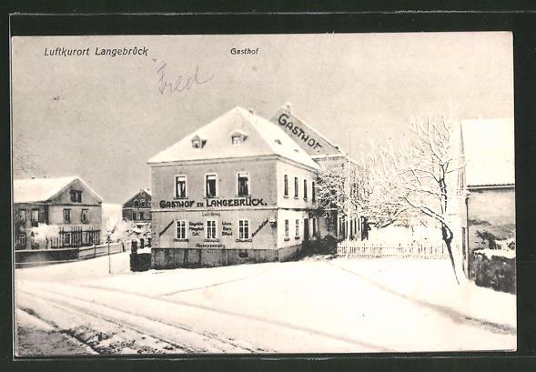 AK Langebrück, Gasthof zu Langebrück im Winter