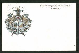 AK Dresden, Wappen des Männer-Gesangs-Vereins der Annenschule, Humboldstrasse 3