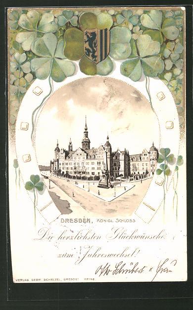 Passepartout-Lithographie Dresden, Königliches Schloss, Wappen & Kleeblätter