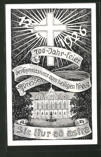 Künstler-AK Dresden, 700-Jahr-Feier des Gymnasiums zum heilgen Kreuz 1926, Georgplatz