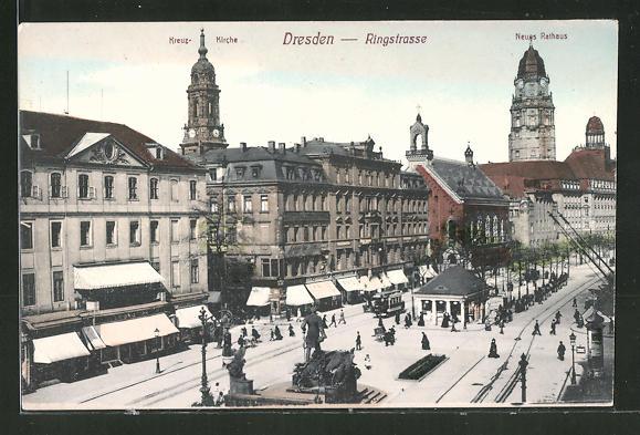AK Dresden, Neues rathaus in der Ringstrasse, Kreuzkirche