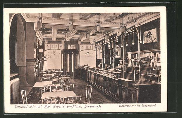 AK Dresden, Rob. Beyer's Konditorei, Verkaufsräume im Erdgeschoss, Wilsdurfer Strasse 21