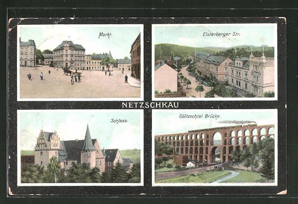 AK Netzschkau, Markt, Elsterberger Strasse, Schloss, Göltzschtal Brücke
