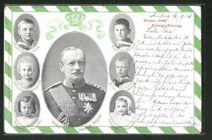AK Porträt König Friedrich August von Sachsen, Prinz Heinrich, Kronprinz Georg