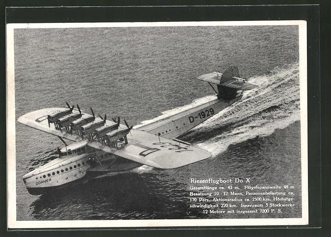 AK Riesenflugboot Dornier Do-X, Kennung D-1929
