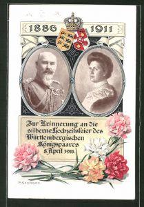 AK Silberne Hochzeit 1911, Porträts des Königspaares von Württemberg