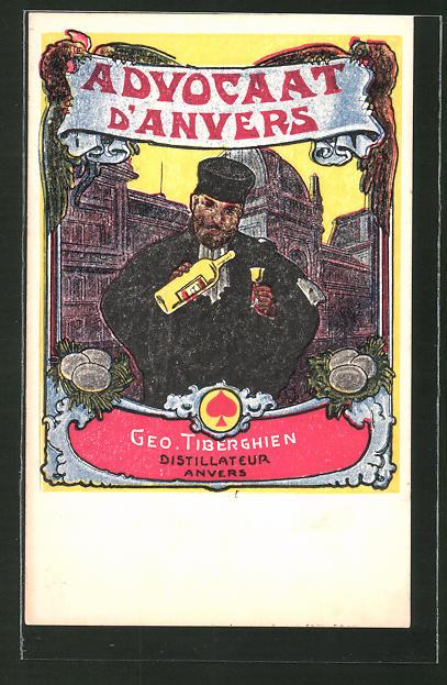 AK Reklame für Eierlikör Advocaat D'Anvers, Mann schenkt sich etwas ein