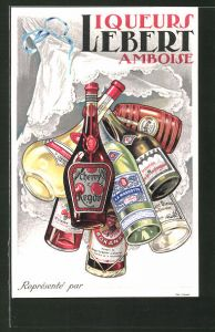 AK Reklame für Liqueurs Lebert Amboise, Flaschen