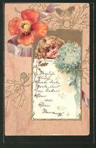 Präge-Holzbrand-Imitations-AK Mädchen mit Blumen