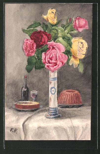 Künstler-AK Handgemalt: Rote und gelbe Blumen in einer schmalen Vase