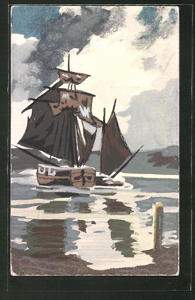 Künstler-AK Handgemalt: Segelschiff auf dem Wasser