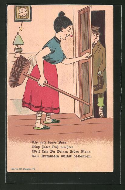 AK Frau mit Besen in der Hand öffnet ihrem Mann die Tür, früher Druck, frauenfeindlicher Humor