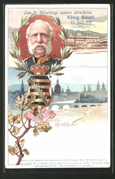 AK Pillnitz, 71. Geburtstag König Albert von Sachsen 1899, Ortspartie