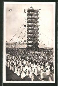AK Stuttgart, 15. Deutsches Turnfest 1933, Flaggenturm mit Turnern