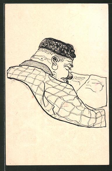 Künstler-AK Handgemalt: Ein dicker Mann liest Zeitung