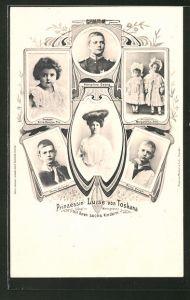 AK Prinzessin Luise von Toskana mit ihren sechs Kindern