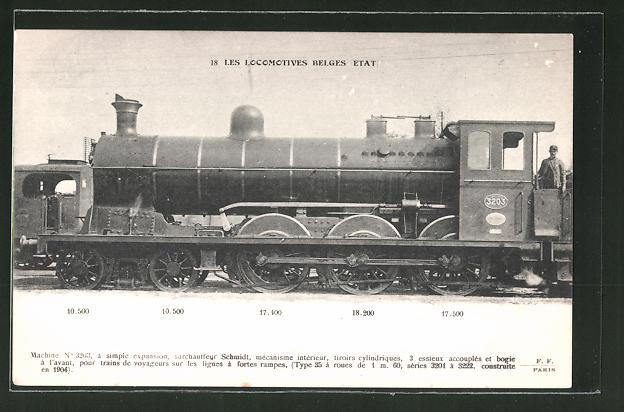 AK Les Locomotives Belges Etat, Machine No. 3203