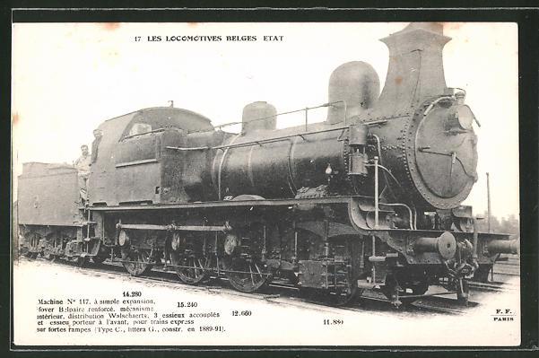 AK Les Locomotives Belges Etat, Machine No 117, Dampflok