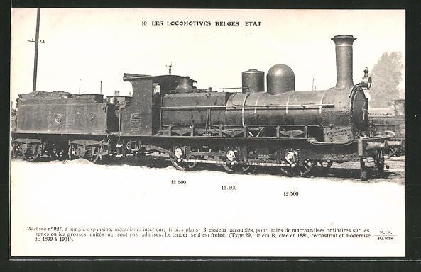 AK Les Locomotives Belges Etat, Machine no 927
