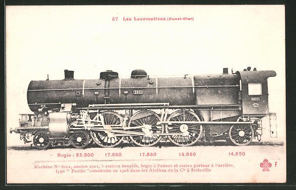 AK Les Locomotives Ouest-Etat, Machine No 6001, type Pacific, Dampflok