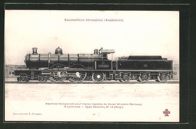 AK Locomotives étrangères Angleterre, Machine Compound pour trains rapides du Great Western Railway