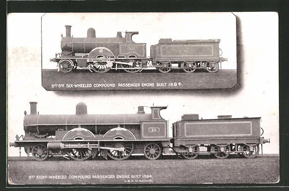 AK 6ft 6in Six-Wheeled Compund Passenger Engine Built 1884, London & North Western Railway, englische Eisenbahn