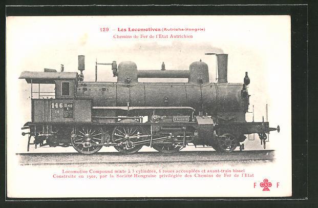 AK Les Locomotives Autriche-Hongrie, Locomotive Compound mixte a 3 cylindres, ungarische Eisenbahn