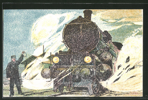 AK Balkanzugslokomotive, österreichische Eisenbahn, Militärbahn, Eisenbahner 0