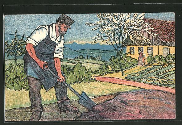 AK Österreichischer Soldat beim Umgraben des Gartens im Frühling, Militärbahn, Balkanzug