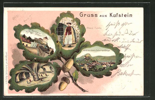 Passepartout-Lithographie Kufstein, Kaisersaal, Festung mit Kriegsbäckerei, Rosza Sandor, Eichenblatt