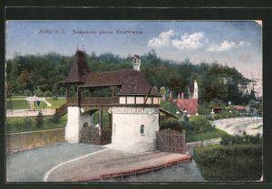AK Halle, Zoologischer Garten, Blick auf den Haupteingang