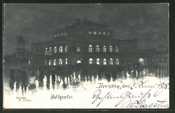 Künstler-Lithographie Carl Jander: Dresden, Hoftheater bei Nacht