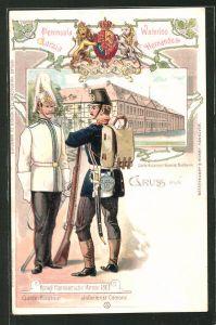 Lithographie Northeim, Garde-Kürassier Kaserne, Kgl. Hannoversche Armee 1866, Garde-Kürassier und Inf. Corporal